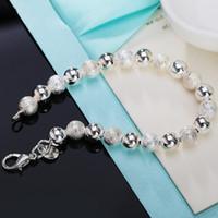 925 buddha-perle großhandel-Silber 925 Armbänder für Frauen 8mm Buddha Perlenkette Armband Armreifen Pulseira Femme Armband Hochzeit Brautschmuck Bijoux