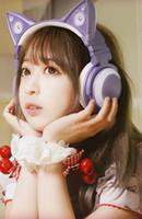 casque bluetooth universel rose achat en gros de-Casque oreille chat rose Anime Cat casque Jeu en direct Oreillette Bluetooth mignon charmant