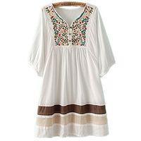 vestidos de moda bohemia al por mayor-ASHER FASHION Túnica con cuello en V y bordado con cuello bohemio y vestido bohemio