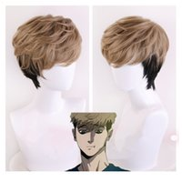 ingrosso parrucche da uomo anime-Anime Killing Stalking SangWoo Men Brevi Lino Marrone Nero Ombre Resistente al calore sintetico Parrucca corta Cosplay