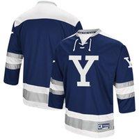 sayılar için makina toptan satış-Özel Jersey NCAA # 18 PEARSON Yale Bulldogs Colosseum Atletik Makine Hokeyi Kazak Formalar Donanma herhangi bir isim ve numara Buz gömlek Dikişli