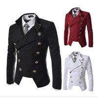blazers para homem venda por atacado-Outono / Inverno Casual Marque Blazer Denim Masculino Vestuário Formal Emagrecimento Terno para Homens Dupla Breasted Casaco Jaqueta Steampunk
