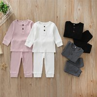 Wholesale girls sleepwear sets for sale - Group buy 0 T Newborn Kid Baby Boy Girl Clothes set Knitted Cotton Long Sleeve Top and Pant suit Cute Plain Sleepwear pajamas set Outfit