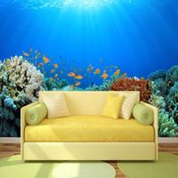 Wholesale background wallpaper landscape resale online - 3D Large mural wallpaper Custom silk cloth deep ocean blue landscape wallpaper for living room bedroom wall background home wall decor