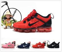 tênis infantil venda por atacado-nike air max airmax vapormax 2019 Crianças tênis Triplo preto Infantil Sapatilhas Arco-íris Crianças calçados esportivos meninas e meninos de Alta qualidade Tênis formadores A001