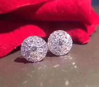 joyas de oro blanco 18k para mujer al por mayor-El diamante de oro blanco sólido certificado de 18 quilates fija dos círculos de joyas de aretes de diamantes para el pendiente de la joyería de las mujeres mayorista