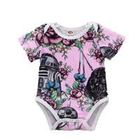 Wholesale black kids dress designs resale online - Baby Girls Printed Romper Toddler Baby Design Floral Robot Backless Jumpsuit Kids Designer Clothing Dress Girls Leisure Shorts Hoodie