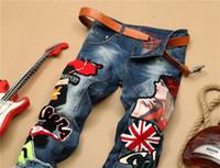 diseño de jeans coreano al por mayor-Original diseño coreano 2019 nueva personalidad moda estiramiento pantalones casuales logotipo popular tubo recto vaqueros delgados bordados belleza insignia stit