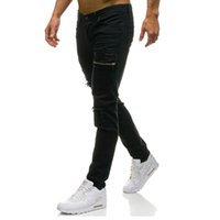 Wholesale mens stylish denim pants resale online - Mens Slim Elastic Ripped Skinny Straight Denim Fit Biker Jeans Pants Green Black Long Pants Stylish Straight Slim Fit Jeans