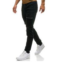 Wholesale mens stylish ripped jeans for sale - Group buy Mens Slim Elastic Ripped Skinny Straight Denim Fit Biker Jeans Pants Green Black Long Pants Stylish Straight Slim Fit Jeans