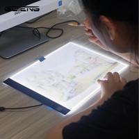 acryl licht tisch großhandel-LED beleuchtet Zeichenbrett Ultra A4 Zeichentisch Tablet Licht Pad Skizze Buch Leere Leinwand für Malerei Acryl Aquarellfarbe