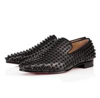 elbise ayakkabıları iş oxford toptan satış-Yeni Erkek Kare Toe Spike Geri Kırmızı Alt Püskül Loafer'lar, Tasarımcı Leopar Gerçek At Kılı Iş Düğün Elbise Ayakkabı Erkekler Oxfords 40-47