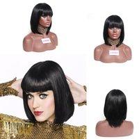 ingrosso parrucche bang riccioli-Inner Curl Black Bob Wig per le donne Cap parrucca piena sintetica dei capelli con Bangs Cosplay Party