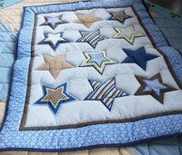 bebek beşik yorgan toptan satış-Yeni Marka Beşik Tampon seti için 7 Adet Bebek yatak çarşafları erkek bebek Yatağı yatak seti Nakış yıldız Yorgan Tampon Yatak Örtüsü bedskirt