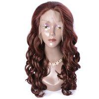 perucas castanhas escuras venda por atacado-Show moderno Auburn Castanho Escuro Cor Perucas Sintéticas Onda Solta Perucas Dianteiras Do Laço Para As Mulheres Negras