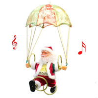 Wholesale musical christmas plush toys for sale - Group buy Creative Electric Christmas Santa Claus Toys Hanging Rotation Parachute Turn Musical Pendant Plush Toy