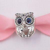 corujas da jóia venda por atacado-Authentic 925 Sterling Silver Beads Sparkling Owl Charm Charms Serve Para Pandora Estilo Europeu Pulseiras Jóias Colar 798397NBCB