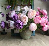flores artificiais para hotéis venda por atacado-NOVO Grande Vintage Europeia Peony bando seda artificial flores peônias Para Casa Hotel Decoração do casamento flores falsificação flor
