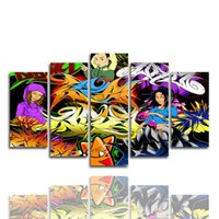 Wholesale colorful wall art paintings resale online - Only Canvas No Frame Urban Graffiti Colorful Wall Art HD Print Canvas Painting Fashion Hanging Pictures for Wall Decor