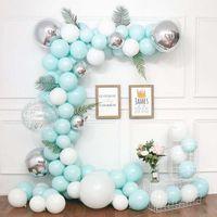 doğum günü balonları beyaz toptan satış-116 adet Macaron Çelenk Kiti Balon Zincir Yaprak Beyaz Mavi Düğün Doğum Günü Yıldönümü Partisi Süslemeleri için Lateks Balonlar
