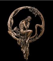 metall moderne abstrakte wandkunst großhandel-ATLIE Retro Home Decor Metall Wandkunst Mädchen verloren Wachs Bronze Statue abstrakte Metallwand Kunst Modern Decor Vintage Skulptur handgefertigte Dekoration