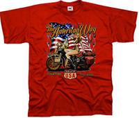coche de color del ejército al por mayor-Classic Biker Car Pin Up Motocicleta Vintage Army Camiseta 4294 Rojo