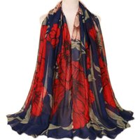 Wholesale beach oversized scarves resale online - 180 Floral Printed Scarves Women Wraps Soft Boho Beach Long Scarf Elegant Ladies Casual Scarf Oversized Shawl Foulard Sjaal