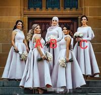 ingrosso gli abiti delle damigelle d'argento si abbracciano-Abiti da damigella d'argento semplice Puffy Maniche lunghe Collo alto Una linea con grande fiocco Torna arabo musulmano Donne Plus Size abito da sposa ospite