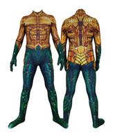 trajes de cosplay de anime meninos venda por atacado-Homens adultos Crianças Menino Aquaman Cosplay Jumpsuit Halloween Anime Seperhero Moive Zentai Jumpsuit Bodysuit Suit