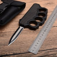 Wholesale MH High Quality Knuckle Duster Auto Tactical knife D2 Double Edge Satin Blade Steel Carbon Fiber Handle Outdoor EDC Rescue knives
