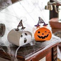 weiße organisatoren großhandel-Neue Ankunft Süßes oder Saures Süßes Beutel Papier Kinder Geschenke Box White Ghost Pumpkin 2 Arten Hand Zucker Organisatoren Für Halloween Dekoration