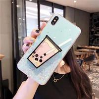 i6 arka kasada toptan satış-Sevimli 3D İçecek Kupası Telefon kılıfı Lüks Glitter Yumuşak arka Kapak iphone XS MAX XR i6 7 8 ARTı