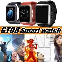 Wholesale smart phone watch sim slot resale online - GT08 Smart Watch Touch Screen Smartwatch Sport Pedometer Fitness Tracker Iphone Android Call Phone SIM Card Slot Push Message with Package