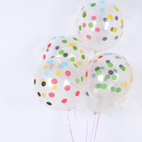 globo claro de la boda al por mayor-100 Unids 12 Pulgadas Transparente de Impresión de Punto Globos de Látex Magia Decoraciones de la Boda Cumpleaños Air Clear Bolas Inflables Fuentes del Partido