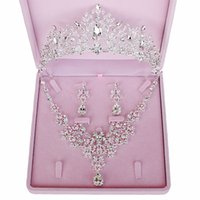Wholesale jewelry lbs resale online - 3PCS Set Crystal Rhinestone Bridal Jewelry Sets New Fashion Wedding Necklace Earrings Tiaras Crown Sets For Women Brides LB