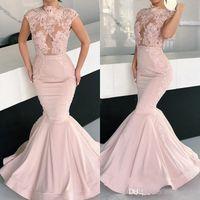 ingrosso rosa abiti da sera rosa-2019 Sexy Blush Pink Mermaid Prom Dresses Appliques del merletto del raso Illusion Cap Sleeves Long Plus Size Pageant Dress Party Evening Gowns Wear