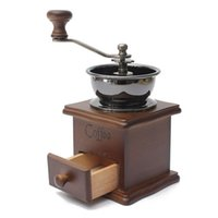 Wholesale wooden spice grinder resale online - Classical Wooden Manual Coffee Grinder Stainless Steel Retro Coffee Spice Mini Burr Mill With High quality Ceramic Millstone DHL