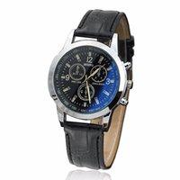 нейтральные полосы запястье оптовых-Wristwatch Mens Blue Ray Glass Watches Neutral Simulates Quartz Analog Wrist Watch Business Casual Leather Band Clock Retro