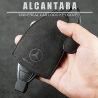 mazda schlüsselabdeckungsfall großhandel-Universal Alcantara Leder Auto Logo Key Bag Schlüsselanhänger Schlüsselanhänger Halter Fall Abdeckung für alle Auto Benz BMW Audi VW Mazda Cadillac Buick Volvo