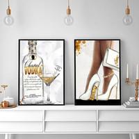paris odası dekor toptan satış-Altın Paris Parfüm Kadın Yüksek Topuklu Şampanya Posterler Ve Baskılar Duvar Sanatı Oturma Odası Dekor Için Tuval Boyama Duvar Resimleri