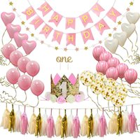Wholesale year old birthday decorations resale online - 38pcs set one year old Baby Birthday Party balloon Set Pink Aluminum Latex Birthday Party Decorations Kids Baby Shower Supplies SH190913