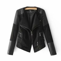 ingrosso giacche da biker per le donne-Nuove giacche in PU doppio colletto Donne Giacca in eco-pelle chic 2019 Womens Street Moto-biker Cappotti corti Ladies Black-Camel Clothes