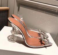 yüksek topuklu ayakkabılar 5cm toptan satış-Mükemmel Resmi Kaliteli Amina Ayakkabı Begüm Kristal-süslenmiş Pvc Slingback Muaddi Restocks Begum Pvc Slingbacks Pompalar 5 cm Yüksek Topuk