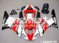 99 98 yamaha r1 carenado rojo al por mayor-Calidad OEM Nuevos kits de carenado ABS completos aptos para YAMAHA YZF R1 98 99 YZF1000 1998 1999 Conjunto de carrocería R1 personalizado rojo blanco