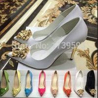 Wholesale size 34 dress shoes for sale - Group buy Nerw Fashion Spring Autumn Pointed Toe Gold Ladies Head High Heel Shoes Black White Patent Leather Dress Shoes Women s Pumps Size