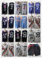 los angeles azul venda por atacado-Homens Los AngelesClippers Kawhi 2 Leonard Lou 23 Williams Basketball Shorts Basketball Jersey branco azul marinho