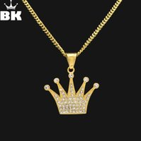 strassenkronen für männer großhandel-Klassische Hip Hop Anhänger Menw Jewerly König Krone Anhänger Halskette Edelstahl Gold Farbe Iced Out Strass Charm Männer Kubanische Kette