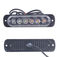 luces de emergencia al por mayor-Luz del coche Ámbar 6 LED Coche Camión Baliza de emergencia Advertencia Peligro Flash Luz estroboscópica sep23