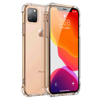 elma iphone manyetik kılıf toptan satış-iPhone 11 Pro MAX XS XR X 8 Artı Samsung Note 10 S10 Anti-vurmak TPU Koruyucu Darbeye Temizle Kapak İçin Şeffaf Telefon Kılıfı