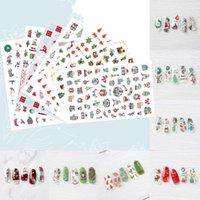 impressão de unhas 3d venda por atacado-10PCS Nail Art Stickers Moda Transferência de Água etiqueta do Natal impressão 3D Art Nail Stickers Manicure Adhesive Y812